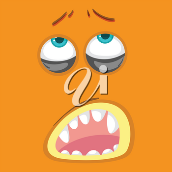 Orange monster facial expression illustration