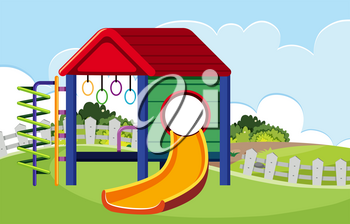Isolated outdoor slide at playground illustration