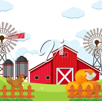 Flat rural farmland background illustration