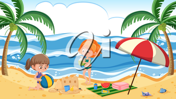 Children at summer beach illustration