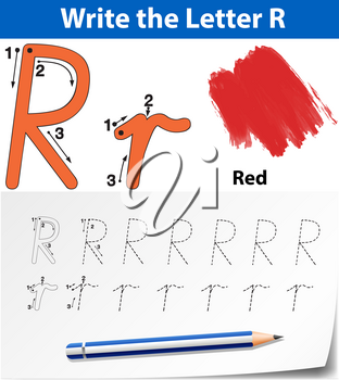 Letter R tracing alphabet worksheets illustration