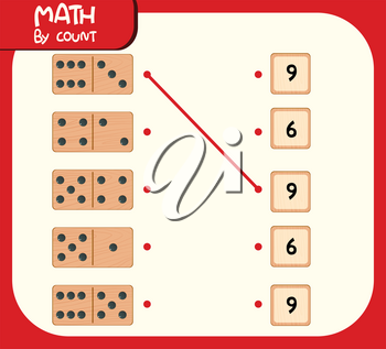 Domino matching number worksheet illustration