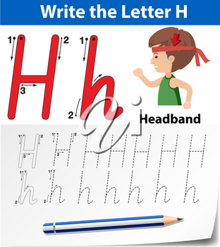 Letter H tracing alphabet worksheets illustration