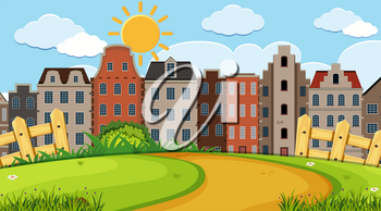 An outdoor scene with Amsterdam house illustration
