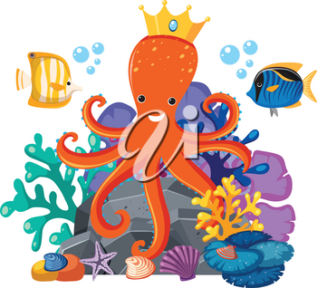 Octopus wearing crown underwater illustration