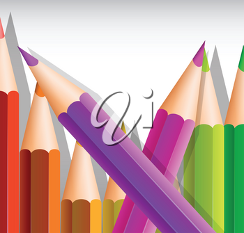 Background template with big color pencils illustration