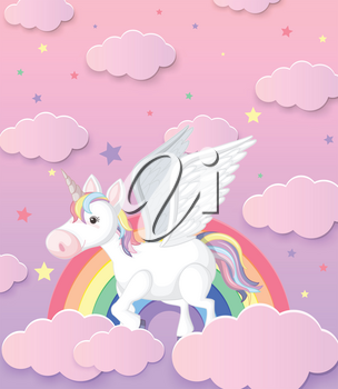 Cute Unicorn and Rainbow Background illustration