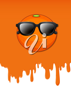 Orange with water dripping background illustration