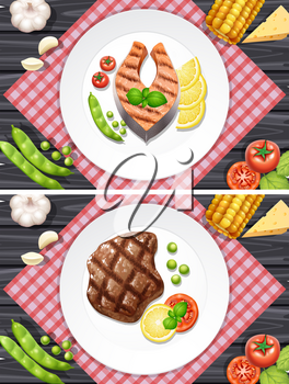 Salmon and beef steak on the plates illustration