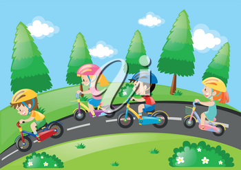 Children riding bicycle in the park illustration