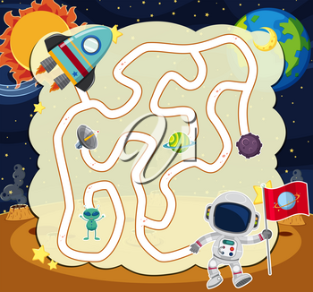 Puzzle game template with astronaut in space illustration