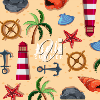 Summer background with lighthouse and tree illustration