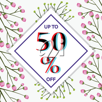 50 percent off sign template with flowers in background illustration