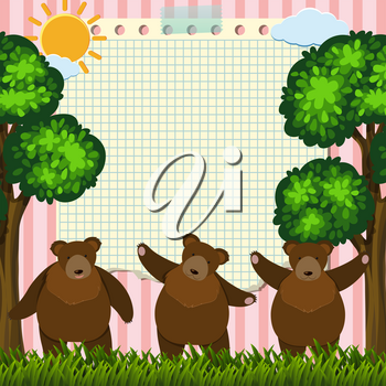 Border template with three bears in garden illustration