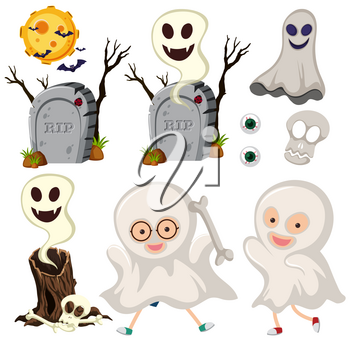 Ghosts and gravestones on white background illustration
