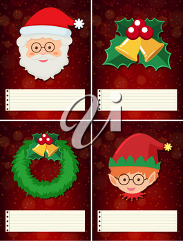 Four christmas template with santa and elf illustration