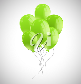 Bunch of green balloons illustration