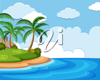 Background scene of ocean at day time illustration