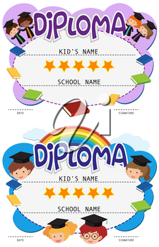 Two diploma templates with kids in graduation gown illustration