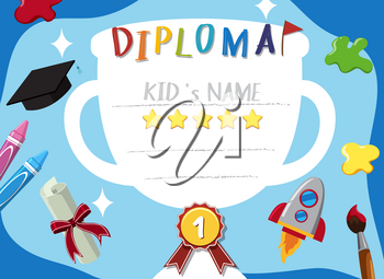 Diploma template with blue background illustration