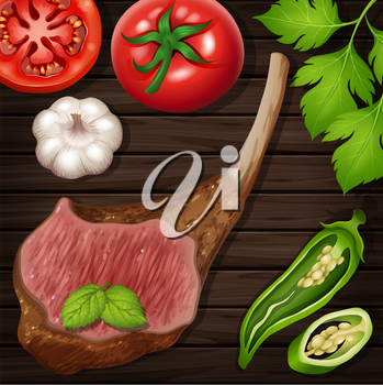 Lambchop with fresh vegetables on wooden board illustration