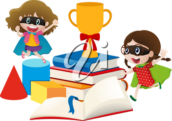 Two girls in hero costume with books illustration