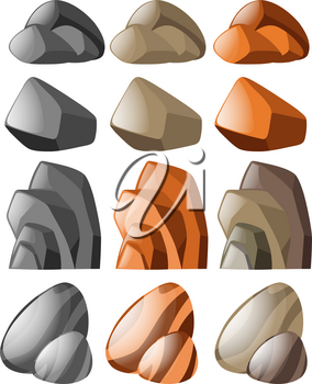 Different shapes of stone illustration