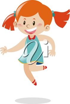 Girl with red hair jumping illustration