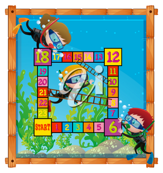 Boardgame template with kids scuba diving illustration