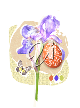 Easter greeting card template with paschal egg, butterfly and spring iris flower. Easter design for Resurrection Sunday religion holiday.