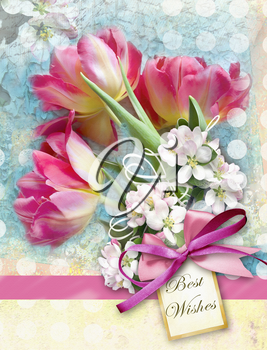 Beautiful card with bouquet of red tulips end other spring flowers with pink bow. Holiday floral background. Can be used as greeting card, invitation for wedding, birthday and other holiday happening.