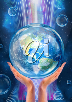 Hands support Earth in the flow of life-giving energy. Conceptual artwork. Saving Earth concept.