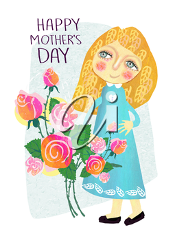 Cute greeting card for Happy Mother's Day. Daughter congratulates mother on a holiday.