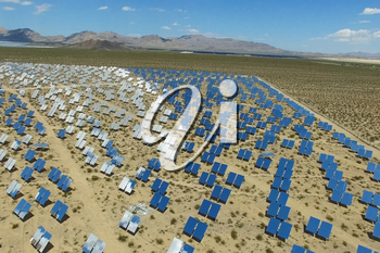 Power station on solar batteries. An alternative source of energy is solar panels