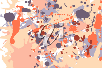 Orange beige grey ink paint splashes vector colorful background