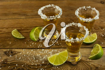 Tequila with lime and salt. Tequila. Tequila shot. Alcohol  drink