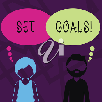 Text sign showing Set Goals. Business photo showcasing process of identifying something that you want to accomplish Bearded Man and Woman Faceless Profile with Blank Colorful Thought Bubble