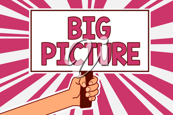 Word writing text Big Picture. Business concept for most important facts about certain situation and its effects Man hand holding poster important protest message pink rays background