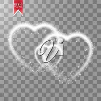 Happy Valentines Day greeting card. I Love You. 14 February. Holiday background with three hearts, light, stars on transparent background. Vector Illustration. eps 10