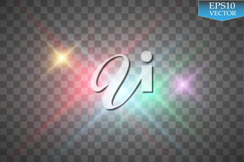Set of color lights, flares isolated on transparent background. Vector