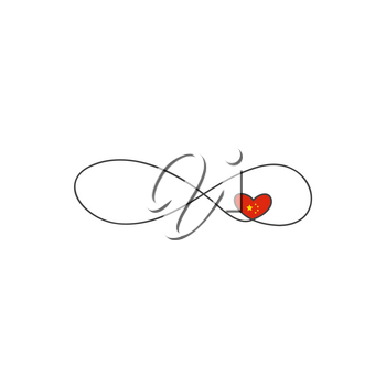 Premium icon on white background. Sign of infinity and heart and hinese flag icon. Element of wedding for mobile concept and web apps illustration. Thin line icon for website design and development, app development.