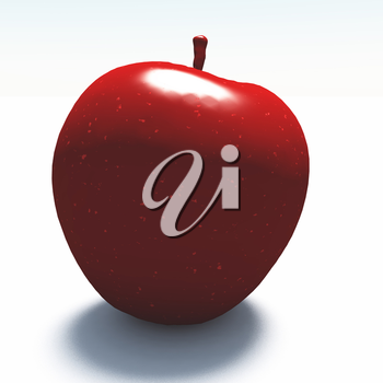 3d render. Apple made of red marble.