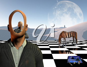 Surrealism. Faceless businessman with another thinking businessman behind him stands on chessboard. Lonely man in a distance. White sand dune. Striped horse like a tiger. Painting and brushes. 3D rendering