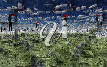 Surreal digital art. Men with red umbrellas hovers above field of light bulbs. Clouds in shape of question sign. Light bulbs symbolizes ideas. Picture is composed entirely of the words.