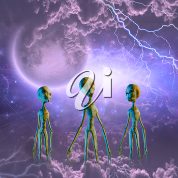 Aliens in space. Lightnings and clouds