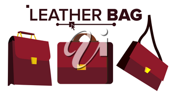 Leather Bag Vector. Office Brown Elegance Briefcase. For Male, Female. Cartoon Isolated Illustration