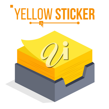 Yellow Sticker Vector. Sticky Paper Notes Stack. Isometric Paper Note. Isolated Illustration