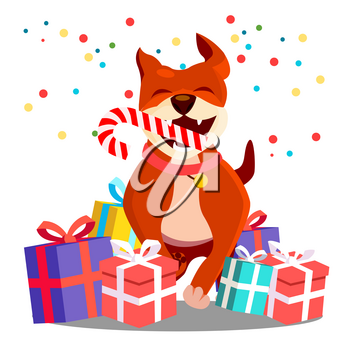 Happy Dog With Christmas Candy In Teeth Among Scattered Gifts Vector. Isolated Illustration