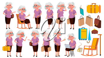 Old Woman Poses Set Vector. Elderly People. Senior Person. Aged. Funny Pensioner. Leisure. Postcard, Announcement, Cover Design Isolated Cartoon Illustration