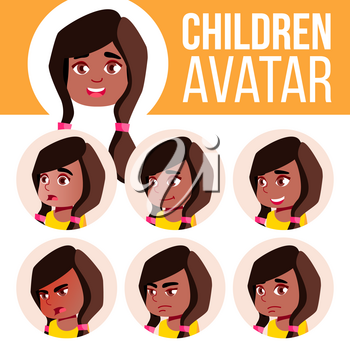 Girl Avatar Set Kid Vector. Black. Afro American. Kindergarten. Face Emotions. Preschool, Baby, Expression. Birth Life Emotional Print Invitation Head Illustration
